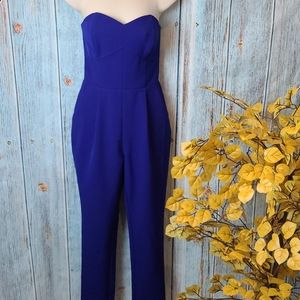 ADELYN RAE STRAPLESS BLUE JUMPSUIT